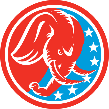 tusk: Illustration of an elephant head with tusk facing down viewed from the side set inside circle with american stars flag in the background done in retro style.