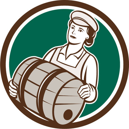 barkeeper: Illustration of a female bartender worker carrying keg set inside circle on isolated  background done in retro style. Illustration