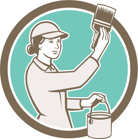 house painter: Illustration of a female house painter painting holding paintbrush and paint can set inside circle on isolated background done in retro style. Illustration