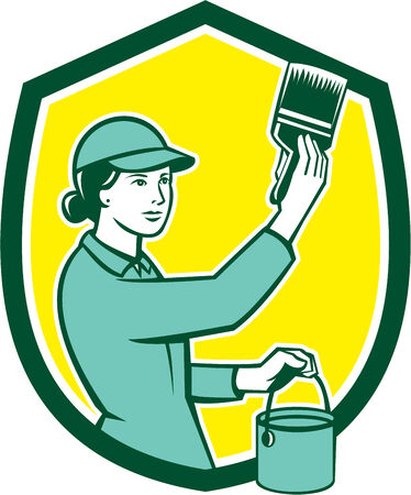 """""""paint can"""": Illustration of a female house painter painting holding paintbrush and paint can set inside shield crest on isolated background done in retro style."""