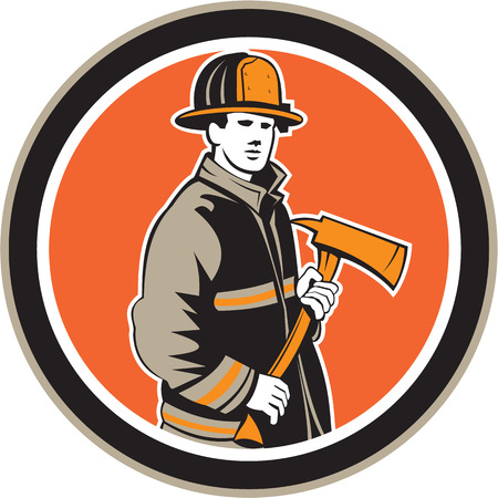 fire fighter: Illustration of a fireman fire fighter emergency worker holding a fire axe viewed from front set inside circle on isolated background done in retro style.