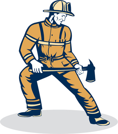 fire fighter: Illustration of a fireman fire fighter emergency worker standing holding a fire axe looking to the side set on isolated white background done in retro style.