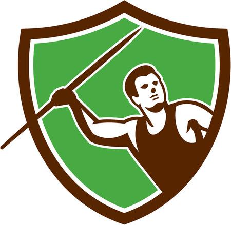 lanzamiento de jabalina: Ilustración de un lanzamiento de jabalina Atleta frente al frente fijó dentro cresta escudo sobre fondo aislado hecho en estilo retro. Vectores