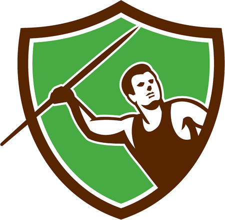 Illustration of a track and field athlete javelin throw facing front set inside shield crest on isolated background done in retro style.