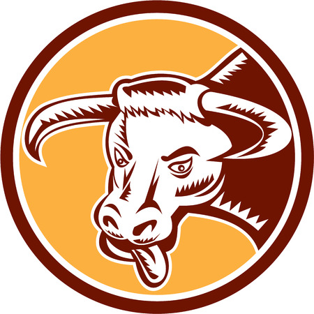 raging: Illustration of an angry raging texas longhorn bull head with tongue out set inside circle on isolated background done in retro woodcut style.