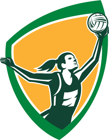 rebounding: Illustration of a netball player catching rebounding ball set viewed from the side set inside shield crest on isolated background done in retro style. Illustration