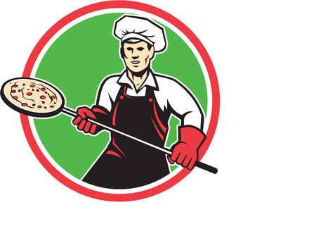pizza maker: Illustration of a baker pizza maker holding a peel with pizza viewed from front set inside circle on isolated background done in retro style.