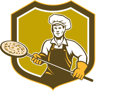 pizza maker: Illustration of a baker pizza maker holding a peel with pizza viewed from front set inside shield crest on isolated background done in retro style.