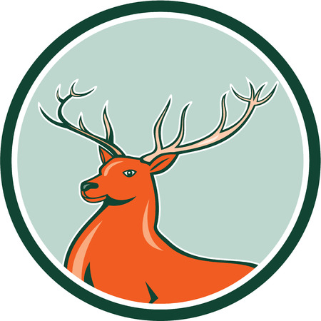 Illustration of a red stag deer buck head facing side set inside circle on isolated background done in cartoon style. Vector