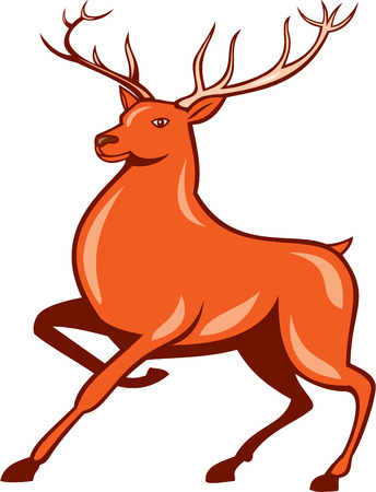 Illustration of a red stag deer buck marching walking facing side set on isolated white background done in cartoon style. Vector