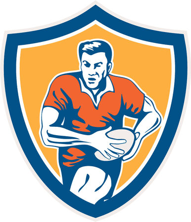 Illustration of a rugby player holding ball running charging set inside shield crest on isolated background done in retro style. Vector