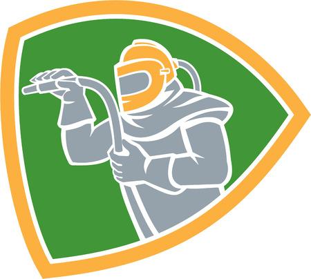 sandblasting: Illustration of a sandblaster worker holding sandblasting hose wearing helmet visor viewed from the side set inside shield crest on isolated background done in retro style.