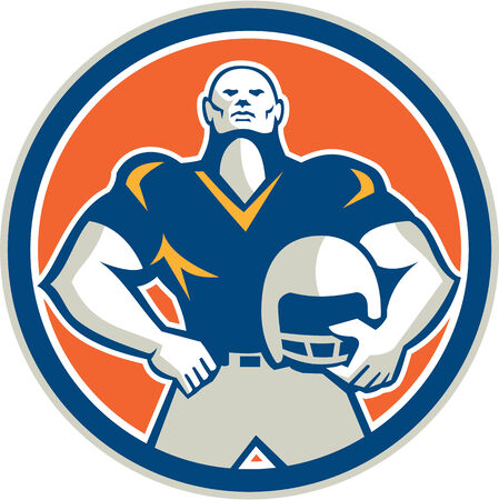 american football helmet set: Illustration of an american football player holding helmet hand on hips viewed from front set inside circle on isolated background done in retro style.