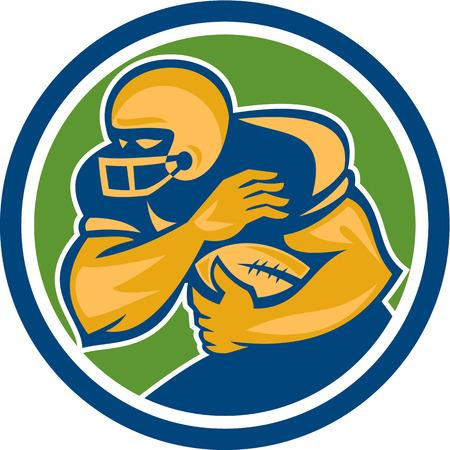 fend: Illustrazione di un giocatore di football americano graticola running back in esecuzione con palla parare impostato all'interno cerchio su sfondo isolato fatto in stile retr�. Vettoriali
