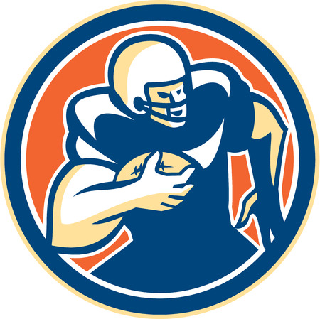 Illustration of an american football gridiron player holding ball running rushing set inside circle on isolated background done in retro style.