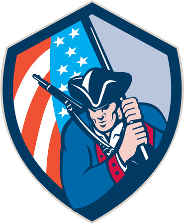 Illustration of an american patriot with rifle brandishing holding american flag set inside crest shield done in retro style. Illustration