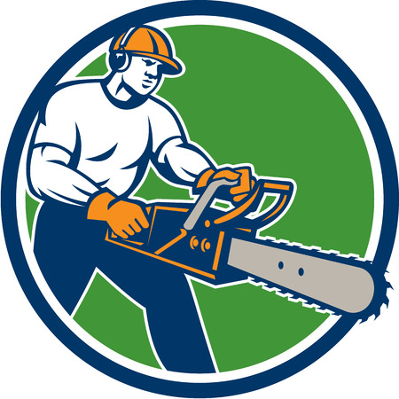 forestry: Illustration of lumberjack arborist tree surgeon holding a chainsaw set inside circle on isolated background done in retro style.