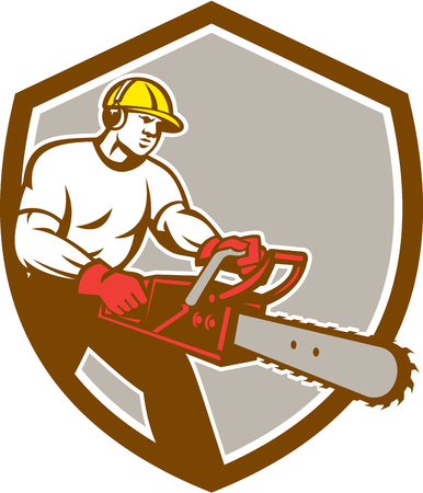 Illustration of lumberjack arborist tree surgeon holding a chainsaw set inside shield crest on isolated background done in retro style.