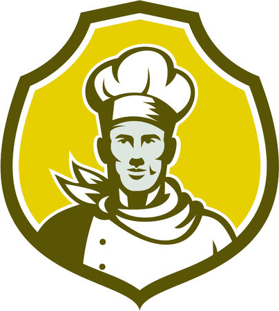 bust: Illustration of a baker chef cook bust with hat facing front set inside shield crest on isolated background done in retro style.