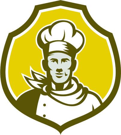 Ilustración de un busto cocinero del panadero del cocinero con el sombrero frente al frente fijó dentro cresta escudo sobre fondo aislado hecho en estilo retro. Foto de archivo - 33566134
