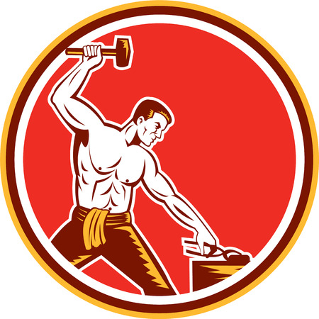 sledgehammer: Illustration of a blacksmith with sledgehammer striking hammering pliers viewed from the side set inside circle on isolated background done in retro style.