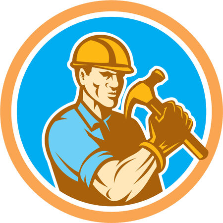 Illustration of a builder construction worker holding hammer set inside circle on isolated background done in retro style.