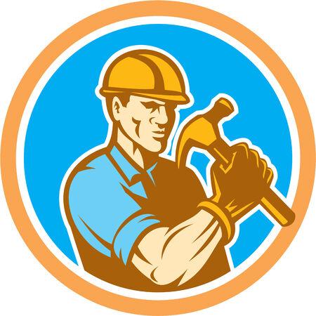 Ilustracja budowlanych budowniczy pracownik gospodarstwa młotek zestaw wewnątrz okręgu na pojedyncze tle wykonanej w stylu retro. Ilustracje wektorowe
