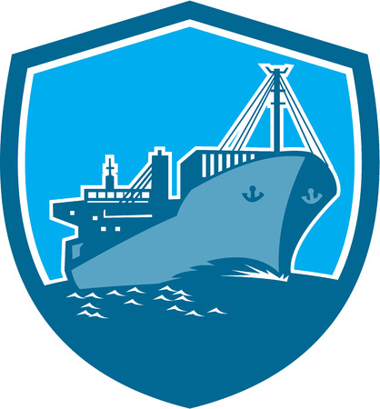 container ship: Illustration of a passenger cargo container ship on sea set inside shield crest on isolated background done in retro style. Illustration
