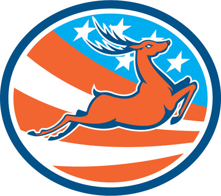 bucks: Illustration of a deer stag buck jumping viewed from the side set inside circle with american usa stars and stripes in the background done in retro style.