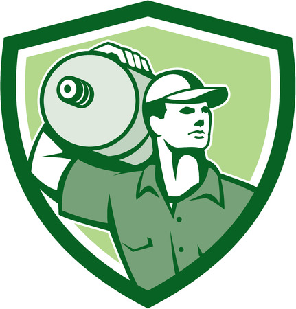 water jug: Illustration of a delivery worker holding water jug container on shoulder delivering set inside shield crest on isolated background done in retro style.