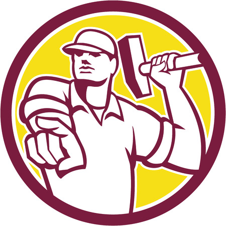 demolition: Illustration of a demolition worker pointing holding hammer set inside circle on isolated background done in retro style.