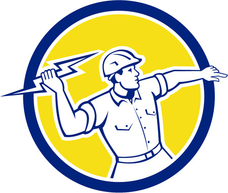 ライトニング ボルト投げを保持している電気技師建設労働者のイラストは、孤立した背景にレトロなスタイルで行われるサークル内の設定側から見