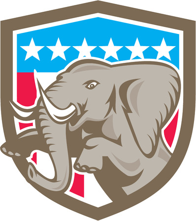 pachyderm: Illustration of an elephant prancing looking to the side set inside shield crest with stars and strips in the background done in retry style. Illustration