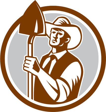 farm worker: Illustration of organic farmer holding shovel set inside circle on isolated background done in retro woodcut style.