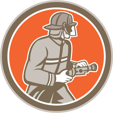 fire fighter: Illustration of a fireman fire fighter emergency worker with fire hose facing side set inside circle on isolated background done in retro style.