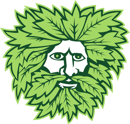 Illustration of green man with face surrounded by leaves viewed from front on isolated white background done in retro style. Illustration