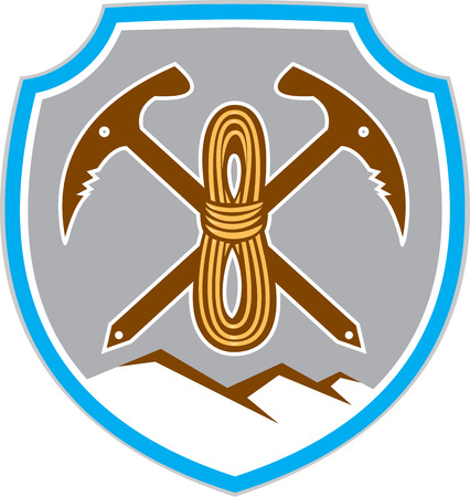 pick axe: Illustration of mountain climbing mountaineering climber pick axe crossed with coiled rope and mountains in background set inside shield crest done in retro style