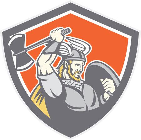 braqueur: Illustration d'un guerrier viking raider barbare avec une hache et un bouclier, ensemble, int�rieur bouclier cr�te sur fond isol� fait dans le style r�tro.
