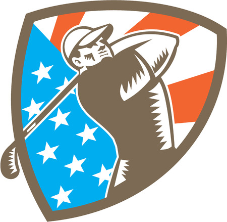 golfer swinging: Illustration of an american golfer playing golf swinging club tee off set inside shield crest with american stars and stripes flag in the background done in retro woodcut style.