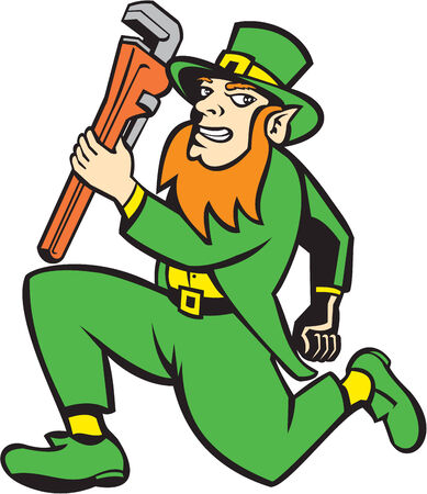 monkey wrench: Illustration of a leprechaun holding monkey wrench running facing side set on isolated white background done in retro style.
