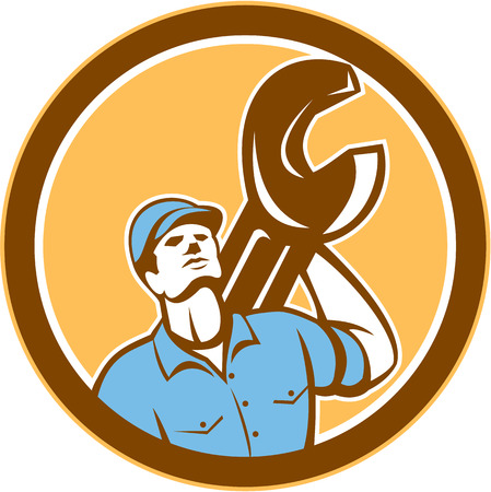 looking up: Illustration of a mechanic wearing hat holding spanner wrench on shoulder looking up set inside circle on isolated background done in retro style. Illustration