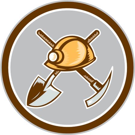 bauarbeiterhelm: Illustration eines Bergmanns hardhat Spaten gekreuzt Hacke Set innerhalb des Kreises auf wei�em Hintergrund im Retro-Stil.