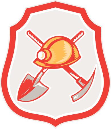 bauarbeiterhelm: Illustration eines Bergmanns hardhat Spaten gekreuzt Spitzhacke im Schild Wappen gesetzt auf wei�em Hintergrund im Retro-Stil.