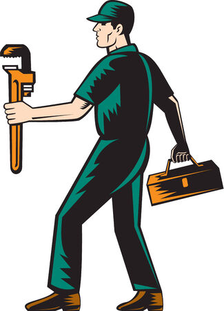 Illustration of a plumber walking facing side carrying toolbox and monkey wrench on isolated white background done in retro woodcut style. Illustration