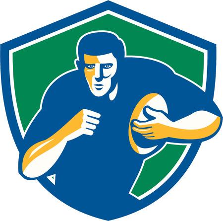 fend: Illustrazione di una palla da giocatore di rugby in esecuzione in possesso di parare di fronte set anteriore interna scudo stemma su sfondo isolato fatto in stile retr� di ricarica. Vettoriali