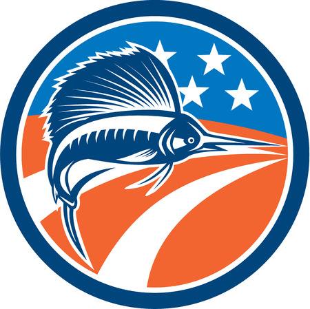 billfish: Illustration of a sailfish fish jumping viewed from the side with american stars and stripes flag in the background set inside circle done in retro style.
