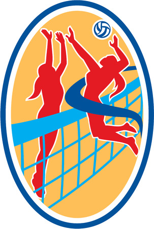 defender: Illustration of a volleyball player spiker jumping spiking hitting ball with defender blocking set inside oval shape on isolated background done in retro style. Illustration