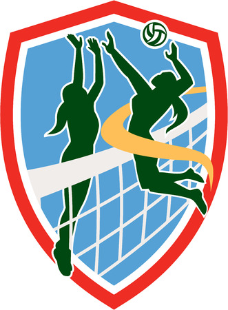 blocking: Illustration of a volleyball player spiker jumping spiking hitting ball with defender blocking set inside shield crest on isolated background done in retro style.