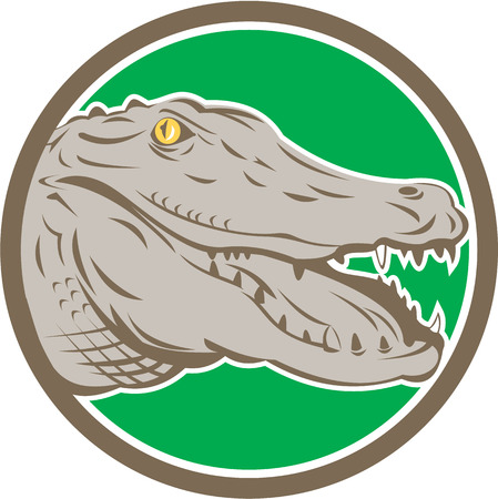 Illustration of an angry alligator crocodile head snout snapping viewed from side set inside circle on isolated background done in retro style.