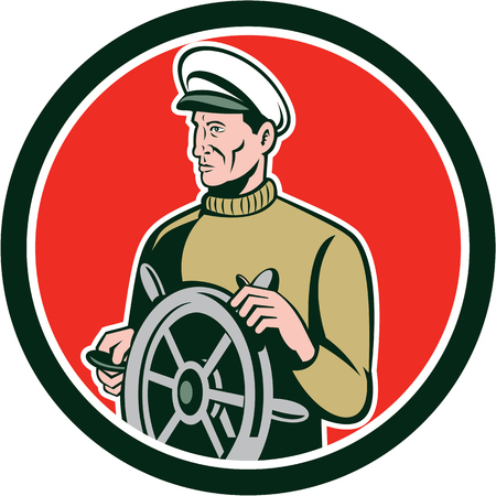 sea side: Illustration of a fisherman sea captain at the wheel helm looking to the side set inside circle on isolated background done in retro style.